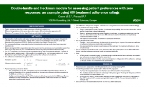Double-hurdle and Heckman models for assessing patient preferences with zero responses: an example using HIV treatment adherence ratings (594)